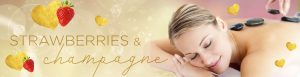 Champagne and Strawberries massage and body treatment, decadent spa treatment Valentine Special